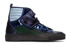 Image of Raf Simons Blue And Green Metallic Velcro High-tops