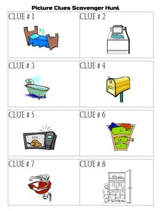 A printable picture clues scavenger hunt for young children who cannot read yet or are just learning to read. Just print and play!