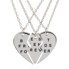 3 Parts Split Heart Best Friends Forever Bff Gift Best Friends Necklace for 3