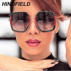 7fbfcfb9501 Big Shiny Sunglasses For Women 2018 New Oversized Square Red Green Brand  Sun Glasses Designer Fashion