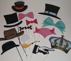 Hats & Bow Ties Wedding Photo Booth Props #photobooth