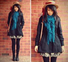 Vintage + Diy Ribbon Bow Boater Hat, China Teal Ruffle Scarf, Forever 21 Black Coat, Vintage Bag, Forever 21 Skirt, Candy Shoes