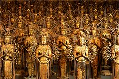 they are all covered in gold leaf.The Temple With 1001 Buddhist Statues as National treasures Kyoto, Geisha, Japanese Travel, Stone Lantern, Sea Of Japan, Wakayama, Japan Travel Guide, Japan Design, Buddhism