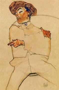 Egon Schiele - Schlafender Mann, 1910, Watercolor,...
