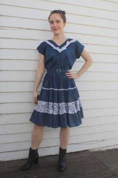 Blue Polka Dot Square Dance Dress Country Western by soulrust