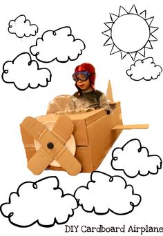 DIY Cardboard Box Airplane for when PK gets a lil older ; Cardboard Airplane, Cardboard Box Crafts, Craft Activities For Kids, Diy Crafts For Kids, Art For Kids, Airport Theme, Vbs Themes, Creative Box, Puppy Party