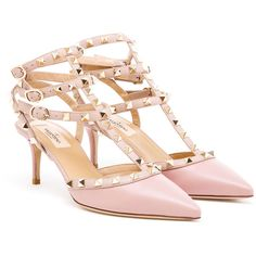 VALENTINO Rock Studded Leather Kitten Heels ($850) ❤ liked on Polyvore featuring shoes, pumps, heels, ankle strap pumps, pink pumps, pointed toe ankle strap pumps, kitten heel shoes и pink shoes