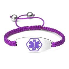 Macrame Satin Cord Stainless Steel Medical Id Bracelet Purple