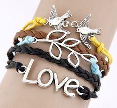 Love & Doves Charm Bracelet