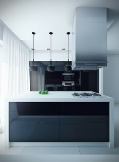 Gloss black cabinets with white bench.