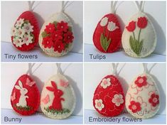 Felt Easter decoration - felt egg with bunny and butterflies or flowers/ set of 8 Listing is for set of 8 ornaments Size of my decorated eggs is about 2 1/8 x 2 5/8 inch (5,3 x 6,5 cm) This is size of felt egg without hanging loop Handmade from wool blend and wool felt Set includes 8