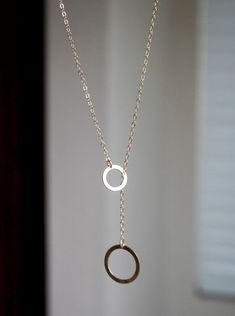 Ring Ring Lariat Gold Necklace  2 gold filled rings by StudioGoods, $29.00