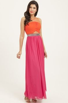 78a42e3d2b1 Little Mistress Orange  amp  Pink Contrast Embellished Mesh Maxi Dress  Orange Amps