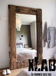 Specchio vintage legno massello invecchiato 120x200x3
