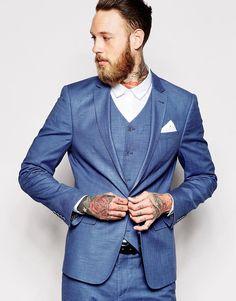 ASOS - Veste de costume cintrée - Bleu Costume Mariage Bleu, Veste De  Costume, 82879e3b7cfb