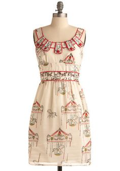 Flying Horses Dress. If all of life is but a carnival, then we might as well get dressed up and enjoy the ride! #cream #modcloth