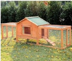 "cat cages for outside | Pawhut 122"" Outdoor Wood Animal Hutch Cage GuineaPig…"