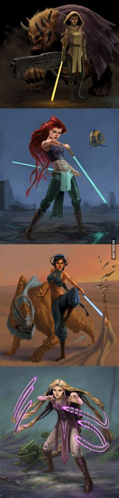 4 Disney Princess Jedi by Phill Berry