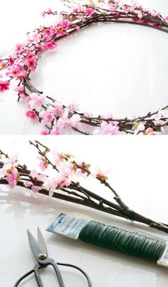 Cherry Blossom Wreath for Spring Baby Shower | Click Pic for 35 DIY Baby Shower Ideas for Girls| DIY Baby Shower Decor Ideas for Girls