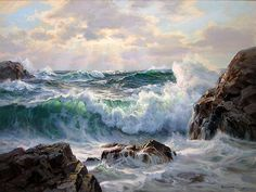 """Charles Vickery  'Pacific Surf'  Oil on canvas  36 x 48"""""""