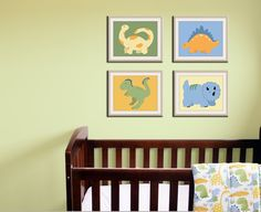 Dinosaur Prints baby nursery art  This would go perfectly in Casey's room but I don't want to pay $60. I know I can recreate this myself