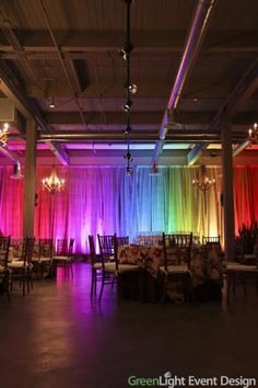 Urban Enoteca - Seattle. GreenLight Event Design used wireless, battery-powered LED up-lighting to animate curtains at the venue. The lighting was a hit with the client. Led Curtain Lights, Ceiling Lights, Rainbow Curtains, Welcome Holidays, Rainbow Light, Rainbow Wedding, Wedding Places, Engagement Couple, Event Design