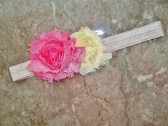 Champagne Fold Over Elastic Headband with Shabby Roses. $4.50, via Etsy.