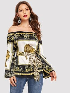 Shop Scarf Print Off Shoulder Satin Blouse With Belt online. SHEIN offers Scarf Print Off Shoulder Satin Blouse With Belt & more to fit your fashionable needs. Blusas Animal Print, Versace, Spring Shirts, Satin Blouses, Types Of Sleeves, Jeans, Off Shoulder Blouse, Ruffles, Long Sleeve Tops