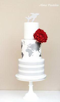 Really cool wedding cake design❣ Alma Pasteles Round Wedding Cakes, Themed Wedding Cakes, Themed Cakes, Gorgeous Cakes, Pretty Cakes, Contemporary Wedding Cakes, Travel Cake, Travel Party, Wedding Cake Inspiration