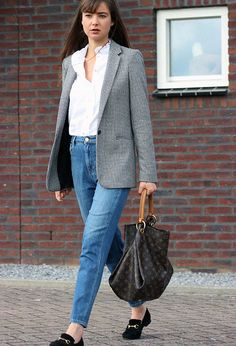 spring outfit, fall outfit, minimal outfit, casual outfit, classy outfit, simple outfit, easy outfit, work outfit, office outfit, street style, comfy outfit - grey blazer, white blouse, mom jeans, black loafers, logo tote bag