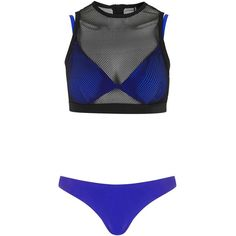 Double Layered Mesh Bikini Top and Pant By Kendall + Kylie at Topshop... ❤ liked on Polyvore featuring swimwear, bikinis, bikini, bathing suit, swimsuits, swim, tankini swimsuit tops, mesh swimsuit, tankini tops and swim tops