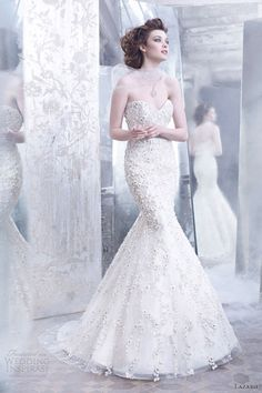 lazaro wedding gowns fall 2012 floral embroidered tulle silk organza trumpet chiffon flowers sweetheart 3254