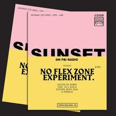 Flyer for Sunset on FBi Radio's upcoming party.