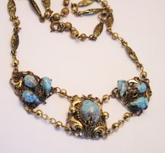 Vintage Czech glass necklace. Turquoise.  by chicvintageboutique
