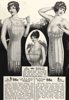 1915 Lingerie in the Sears catalogue. Corsets and bust improver.