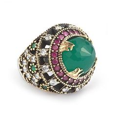 Women Ring 925 Sterling Silver With Jade 6-7-8 US Turkish Vintage style #istanbulJewellry #Ottoman