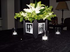"$10 idea-- Paint Dollar Store frames, print out photos in black and white, Dollar Store vase inside frames (battery light in vase would be a nice touch also),  5 carefully chosen flower/greenery bunches from dollar store and ""Viola!"""