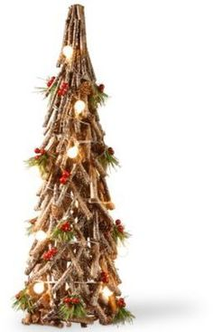 Add a rugged look to your holiday décor with the Rustic Wood Holiday Tree from National Tree Company. This real wood tree features a snow-sprinkled appearance that is lit up by warm white LED lights. Grapevine Christmas, Homemade Christmas Tree, Stick Christmas Tree, Easy Christmas Ornaments, Wooden Christmas Trees, Diy Christmas Tree, Holiday Tree, Rustic Christmas, Simple Christmas