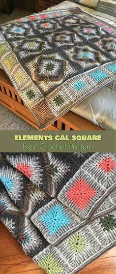 Elements Cal Square for Blankets, Afghans, Pillows, Centrepieces [Free Crochet Pattern] #CrochetAfghan