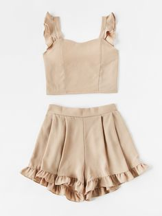 Frill Trim Shirred Crop Tank Top With Shorts -SheIn(Sheinside) - Cute Outfits Teen Fashion Outfits, Girl Fashion, Girl Outfits, Womens Fashion, Fashion Design, Fashion Trends, Emo Outfits, Punk Fashion, Lolita Fashion
