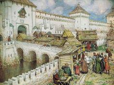 Книжные лавочки на Спасском мосту в XVII веке, 1916