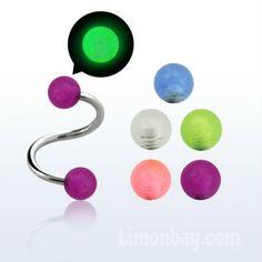 Espiral para piercing de ceja, oreja o labio de 1,2 mm de grosor, con bolas de…