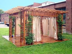 Pergola idea trellis and curtains gardening fun pergola outdoor curtains for pergola outdoor pergola curtains Outdoor Drapes, Outdoor Pergola, Wooden Pergola, Outdoor Rooms, Outdoor Gardens, Outdoor Living, Gazebo, Pergola With Roof, Pergola Kits