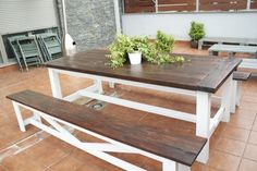 Swoon!  I would LOVE to talk Keith into building this, either for the dining room or the backyard patio!!  Based on Ana White's farmhouse table and rustic benches woodworking plans.