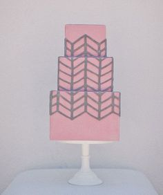 Pink and Gray Wedding Cake - PHOTO SOURCE • MARK BROOKE PHOTOGRAPHY