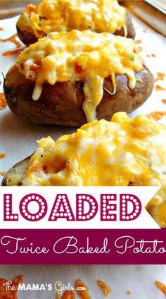 Loaded Twice Baked Potatoes. They are a delicious side dish for meatloaf, barbecued chicken or grilled steaks! Fourth of July side dish, for sure Potato Dishes, Potato Recipes, Food Dishes, Main Dishes, Great Recipes, Favorite Recipes, Twice Baked Potatoes, Cheesy Potatoes, Mashed Potatoes