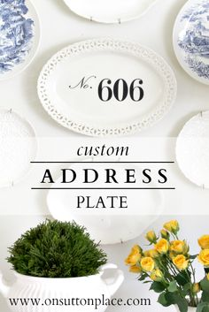 Make a personalized plate wall by adding your address numbers to a plate using a decal. Source provided!