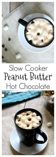 Slow Cooker Peanut Butter Hot Chocolate–chocolate and peanut butter are made for each other and they make a perfect creamy combination in this homemade crockpot peanut butter hot chocolate recipe. The slow cooker is a perfect appliance for your holiday parties. You can keep food and drinks at the right warming temperature with no effort on your part!