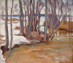 Spring Flooding In Tuusulanjarvi oil painting by Eero Jarnefelt, The highest quality oil painting reproductions and great customer service! Artist Biography, Oil Painting Reproductions, Art Auction, Landscape Art, Aurora, Scandinavian, Helene Schjerfbeck, Hand Painted, Fine Art