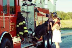 Firefighter pictures. Love. Kiss. Firetruck.